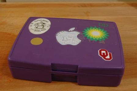 closed laptop lunch box